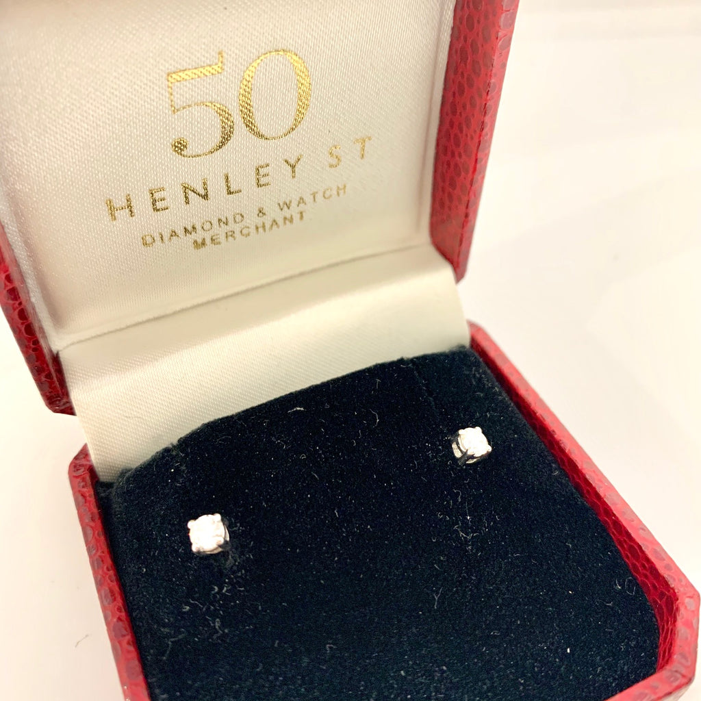 18CT WHITE GOLD DIAMOND STUD EARRINGS 0.41CTS TOTAL
