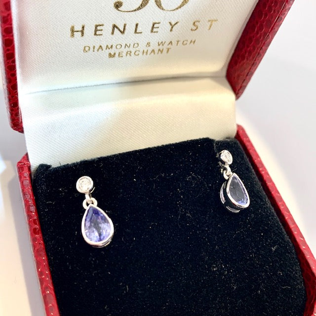 9CT WHITE GOLD PEAR SHAPED TANZANITE AND DIAMOND DROP EARRINGS