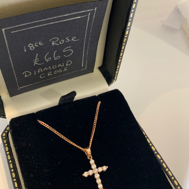 18CT ROSE GOLD DIAMOND CROSS 0.30CT