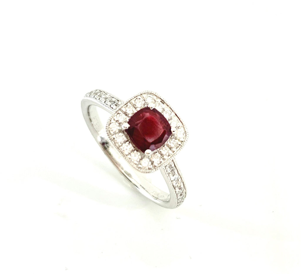 18CT VINTAGE STYLE RUBY & DIAMOND RING
