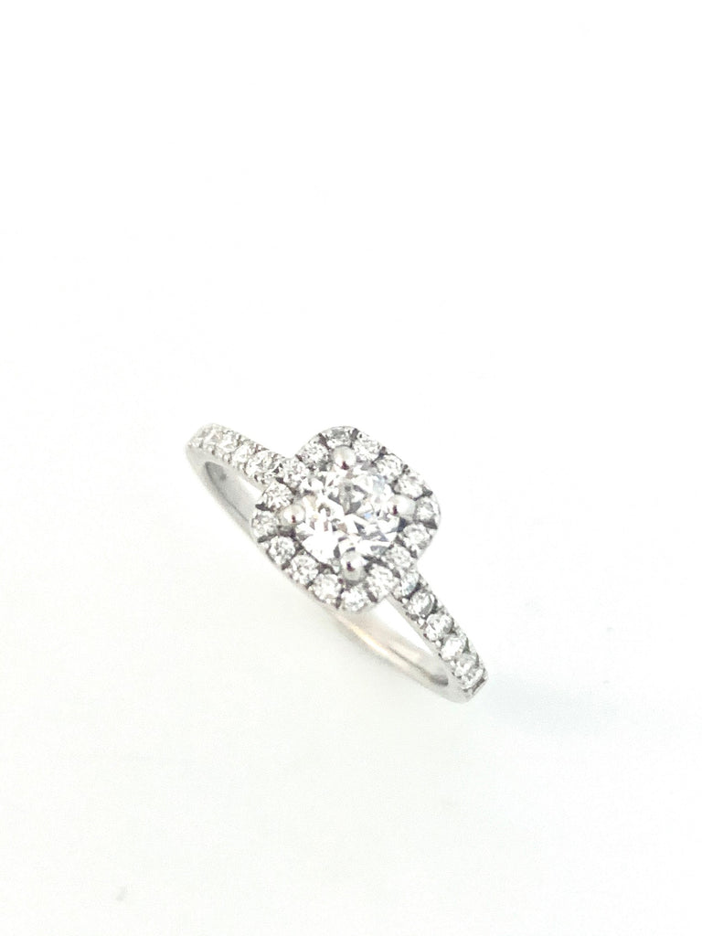 PLATINUM CUSHION SHAPE DIAMOND HALO RING