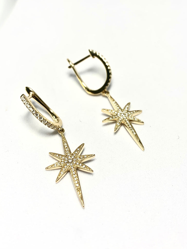 18CT GOLD DIAMOND STRATFORD STAR DROP EARRINGS