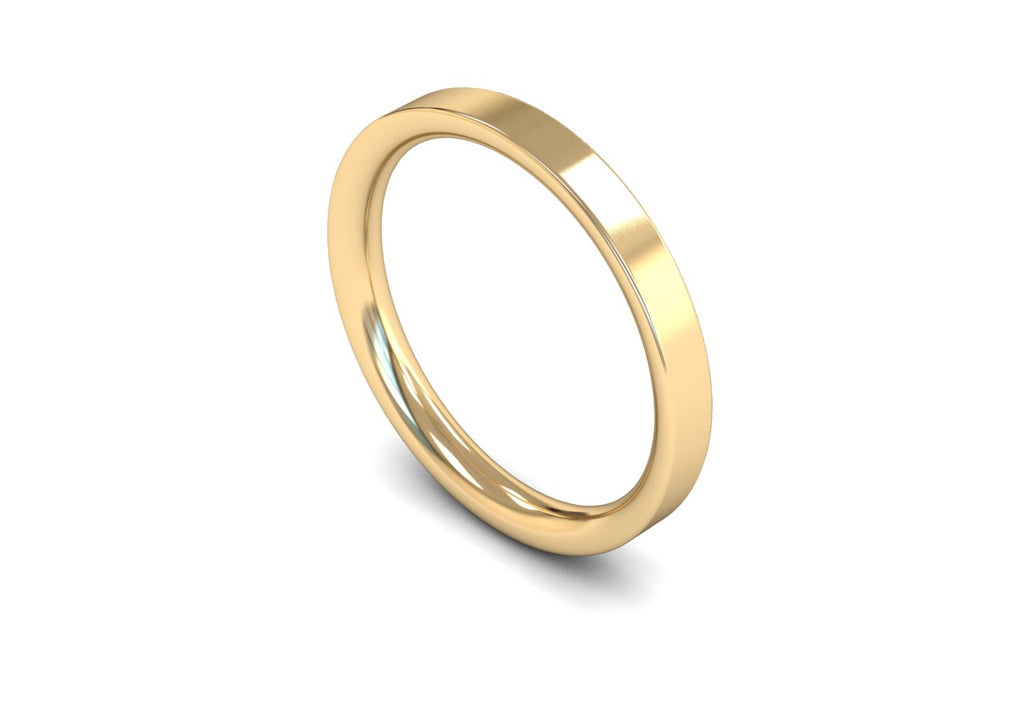 2.5MM FLAT COURT WEDDING BAND 18CT