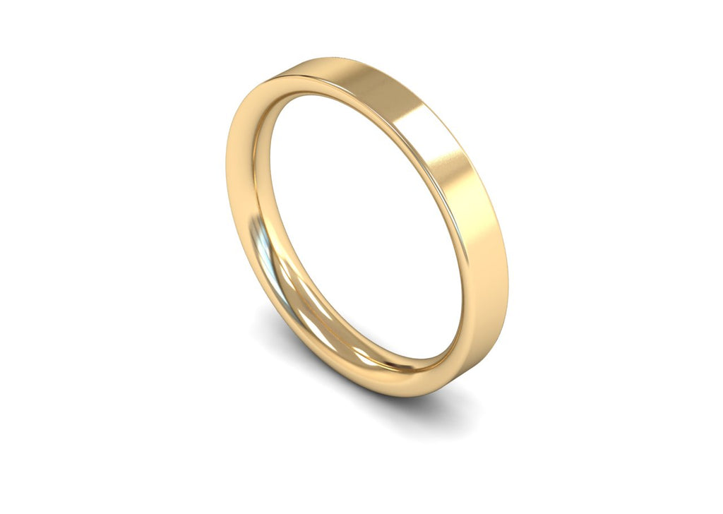 3MM FLAT COURT WEDDING BAND 9CT
