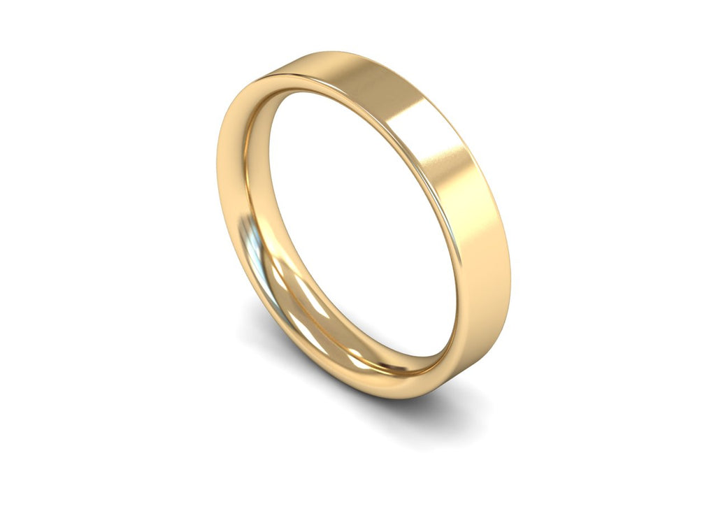 4MM FLAT COURT WEDDING BAND 9CT