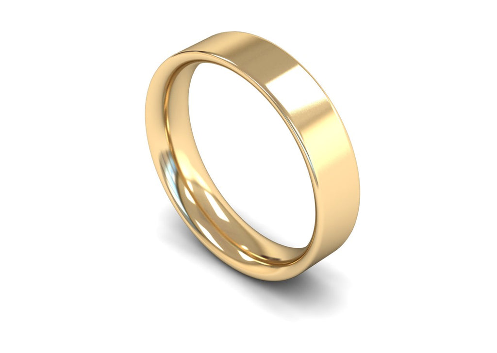 5MM FLAT COURT WEDDING BAND 18CT