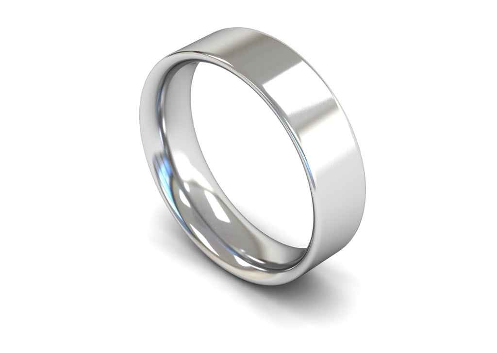 6MM FLAT COURT WEDDING BAND PLATINUM