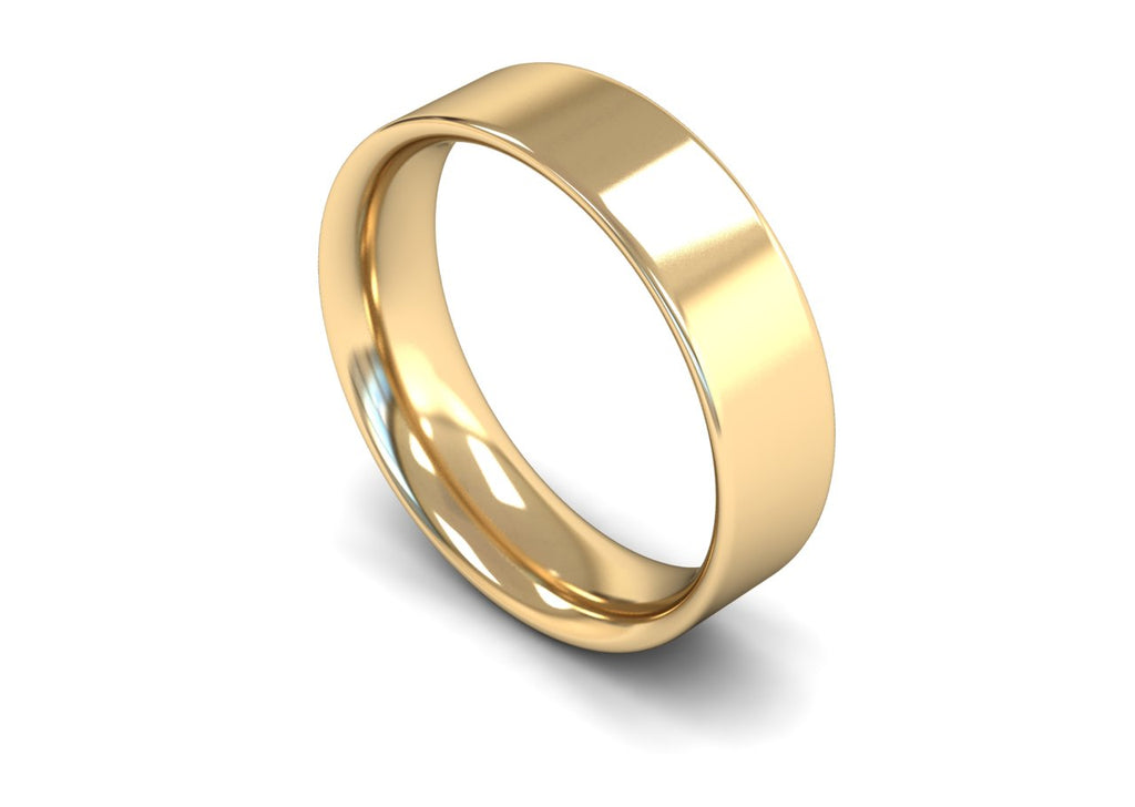 6MM FLAT COURT WEDDING BAND 9CT