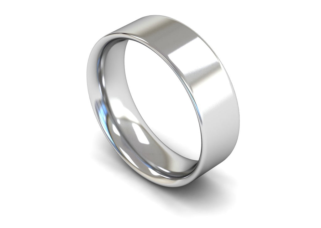 7MM FLAT COURT WEDDING BAND PLATINUM
