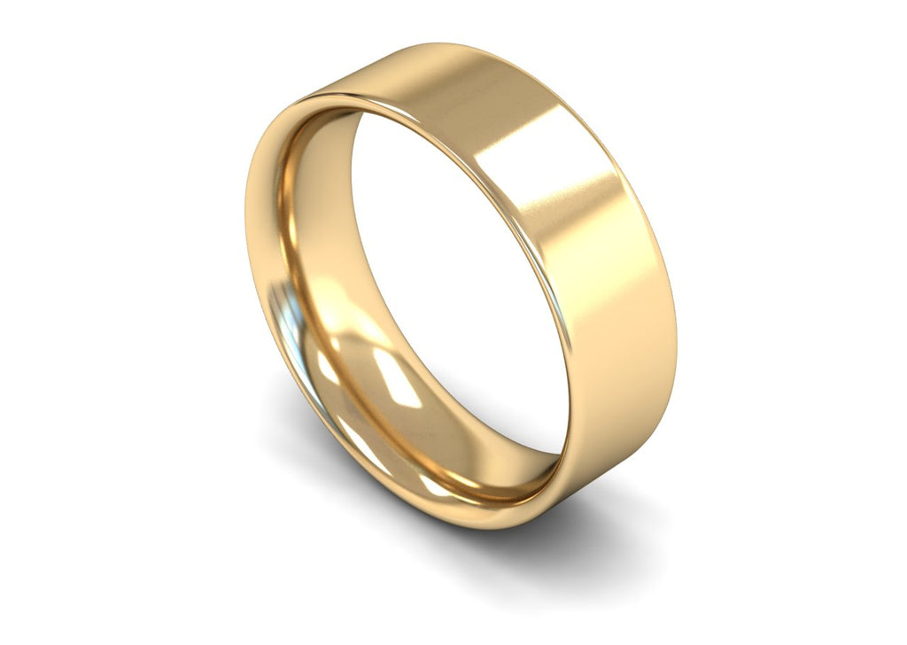 7MM FLAT COURT WEDDING BAND 18CT