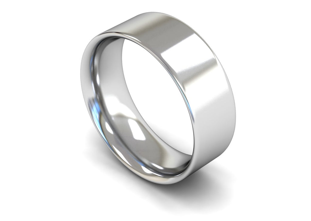 8MM FLAT COURT WEDDING BAND PLATINUM