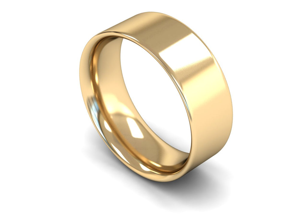 8MM FLAT COURT WEDDING BAND 18CT