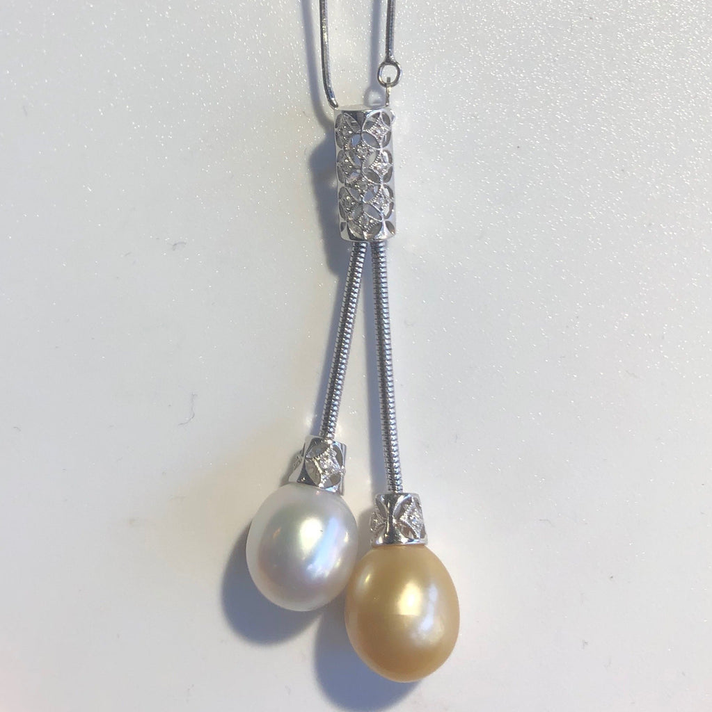 18CT WHITE GOLD TAHETIAN PEARLS PENDANT