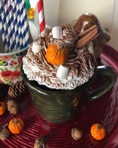 Fall Pumpkin Spice themed Faux Whipped Cream Mug Topper #1