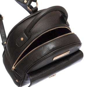 EMILY BLACK GRAIN LEATHER BACKPACK