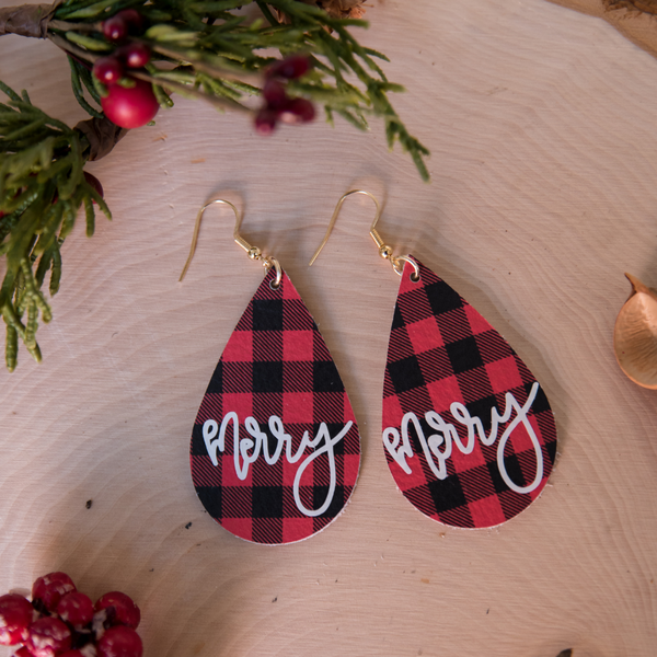 merry leather earrings by made for mama shop