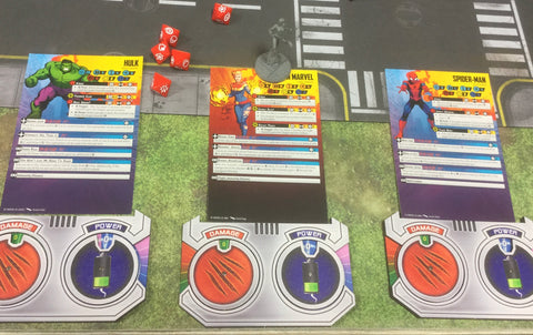 Damage and Power  Mini Dashboard 3 pack for use with Marvel: Crisis Protocol