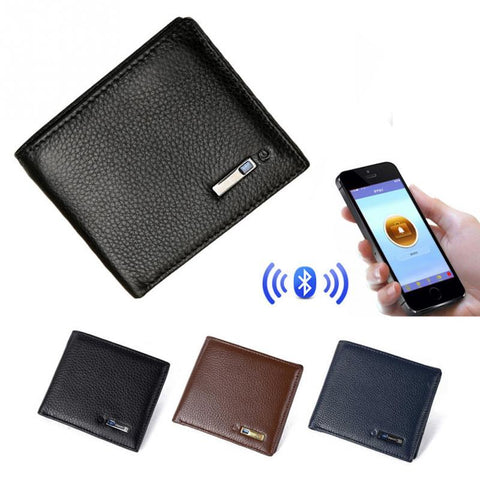 Image of a bluetooth leather wallet with GPS tracking