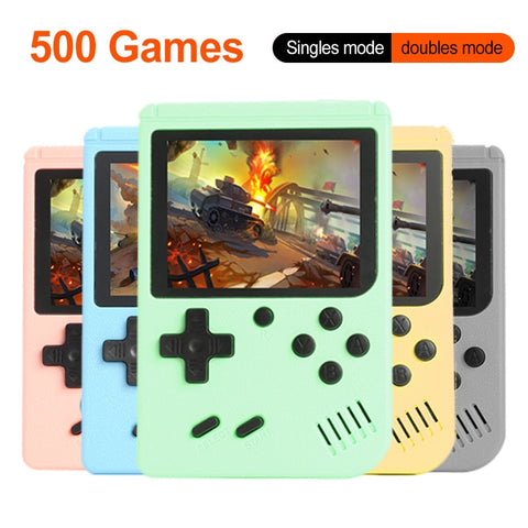 Image of a retro handheld gaming console with 500 8-bit games
