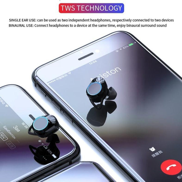 Wireless earbuds Bluetooth Headphones in-ear - IPX7 Waterproof Touch control Earbuds with Power Bank - EasyTechGO - Bluetooth Earphones