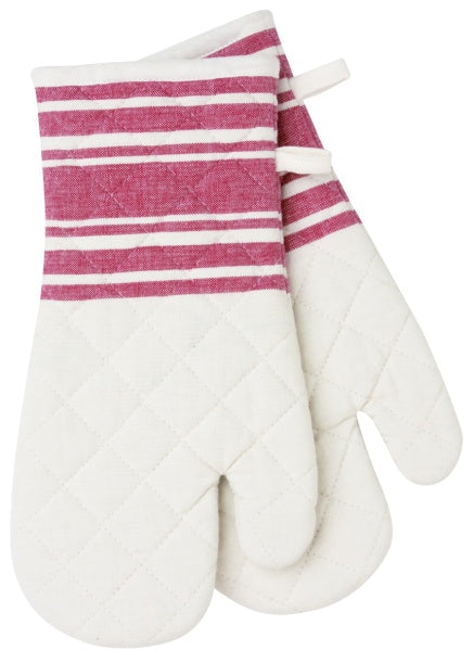 Grill-Handschuh 'Country Stripes' cream red