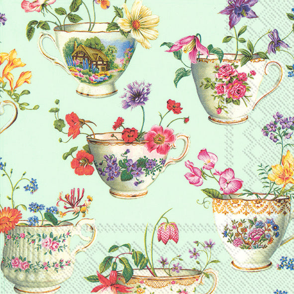 Lunch-Servietten 'Cup of Flowers' light green