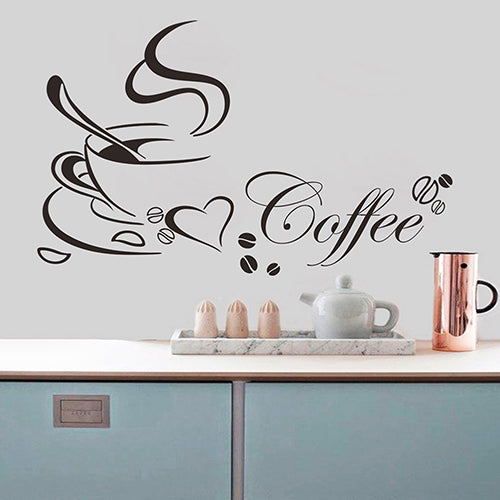 Waterproof Removable Coffee Cup Beans Heart Wall Sticker Office Cafe Home Decal