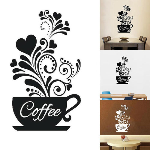 DIY Coffee Cup Decal Wall Decoration Removable Home Kitchen Art Mural Sticker