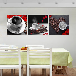 Canvas Unframed Wall Art Pictures Home Decor 3 Pieces Coffee Beans Paintings