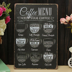 Coffee Bar Menu Vintage Sign Pub Shop Home Wall Decor Retro Metal Art Poster