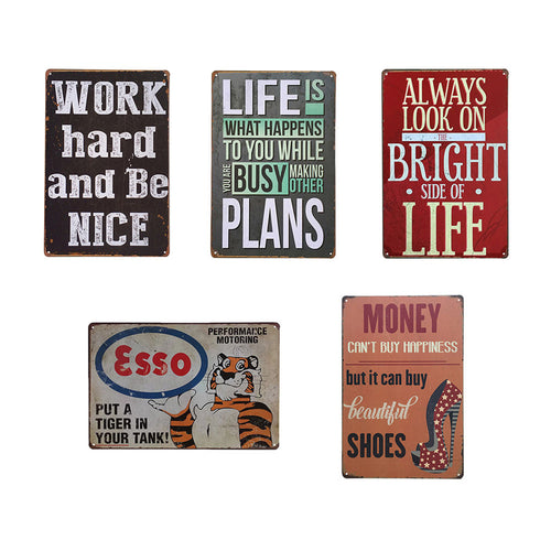 Inspirational Language Retro Metal Tin Sign Poster Plaque Wall Home Coffee Decor