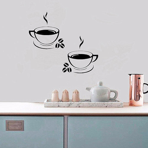 Coffee Cups Beads Pattern Pub Cafe Kitchen Home Decor Art Decal Wall Sticker