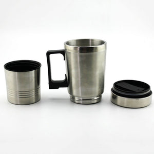 12V/24V 450ml Auto Car Heating Cup Stainless Steel Electric Heated Water Mug