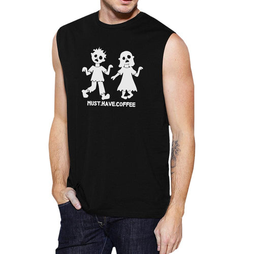 Must Have Coffee Zombies Mens Black Muscle Top