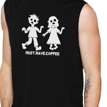 Load image into Gallery viewer, Must Have Coffee Zombies Mens Black Muscle Top