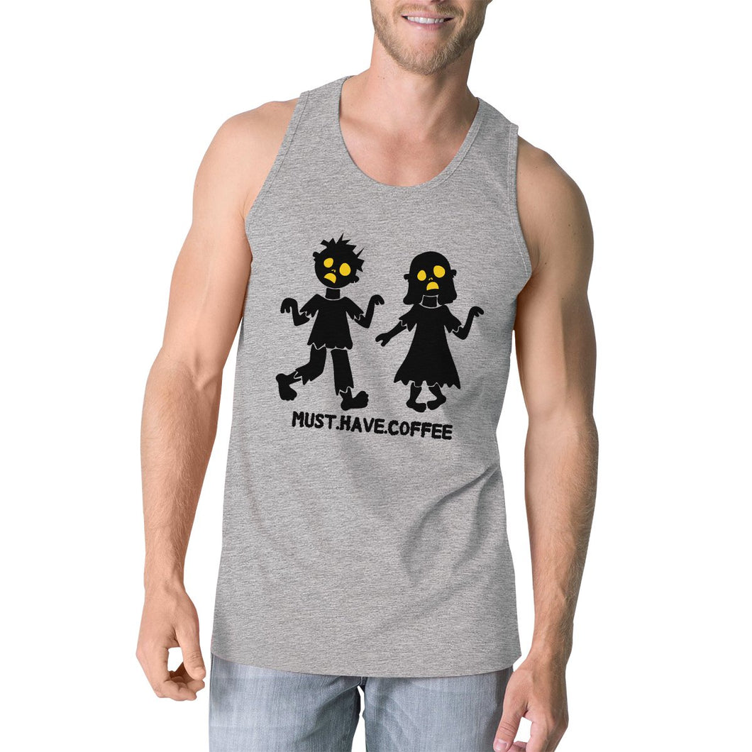 Must Have Coffee Zombies Mens Grey Tank Top
