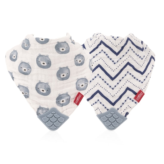 Nuby Muslin Teether Bib 2 Pack- Teddy Bear