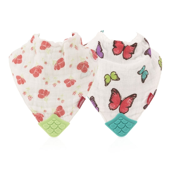 Nuby Muslin Teether Bib 2 Pack- Butterflies