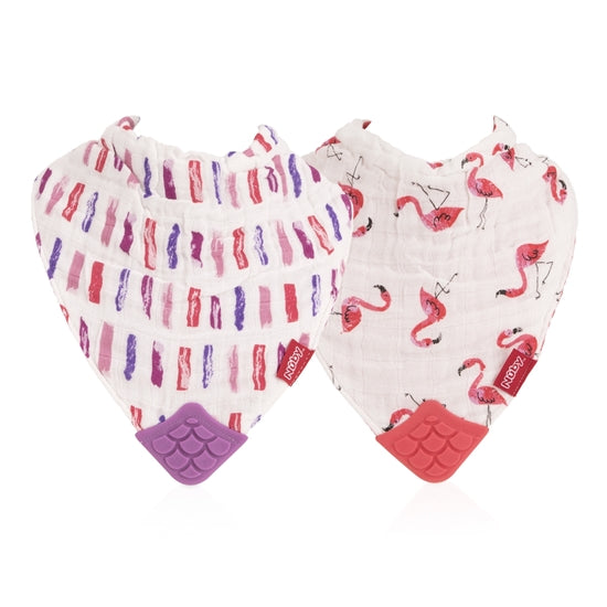 Nuby Muslin Teether Bib 2 Pack- Flamingo