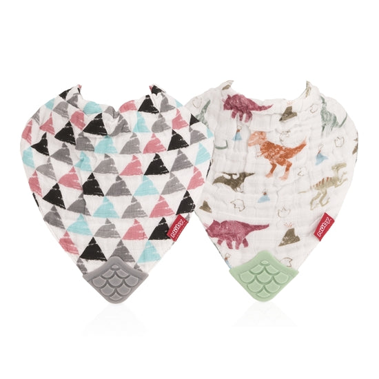 Nuby Muslin Teether Bib 2 Pack- Dino