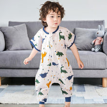 Load image into Gallery viewer, Muslin Tree Short Sleeve Sleep Suit- Dinosaur 0.2 TOG