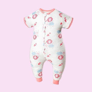 Muslin Tree Short Sleeve Sleep Suit- Pink Elephant 0.2 TOG - Bubify