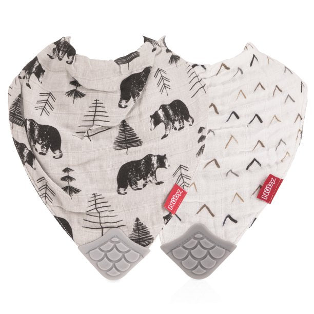 Nuby Muslin Teether Bib 2 Pack-  Wild Bear