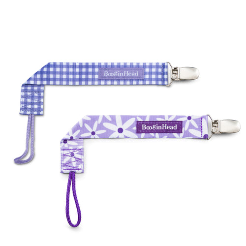 PaciGrip Double Pack Purple Gingham & Purple Daisy