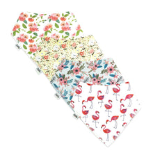 Load image into Gallery viewer, Bandana Bibs 4 Pack - Flamingo - Bubify