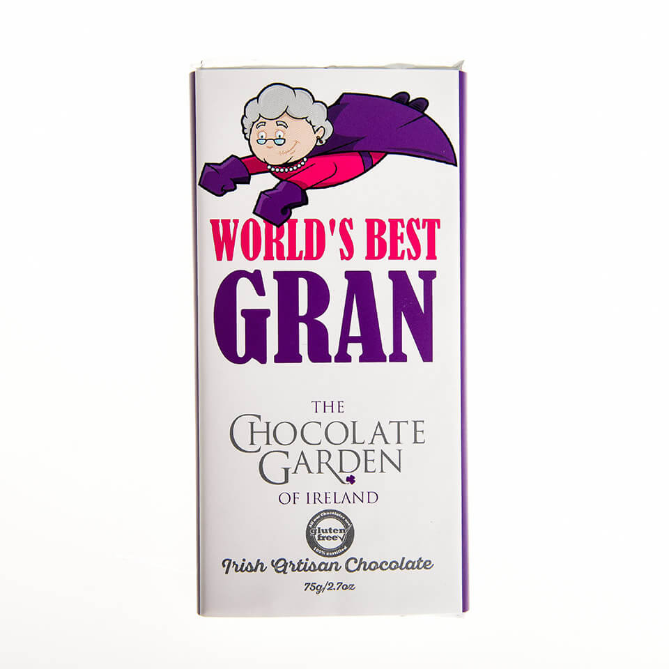 "The Chocolate Garden ""World's Best Gran"" 75g Milk Chocolate Bar"