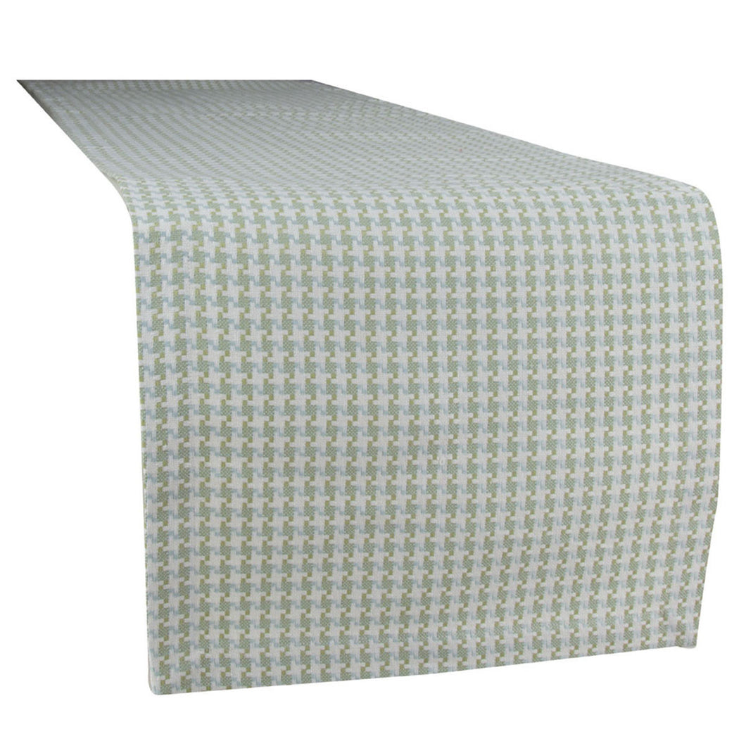 Houndstooth Blue/Green Table Runner, 60