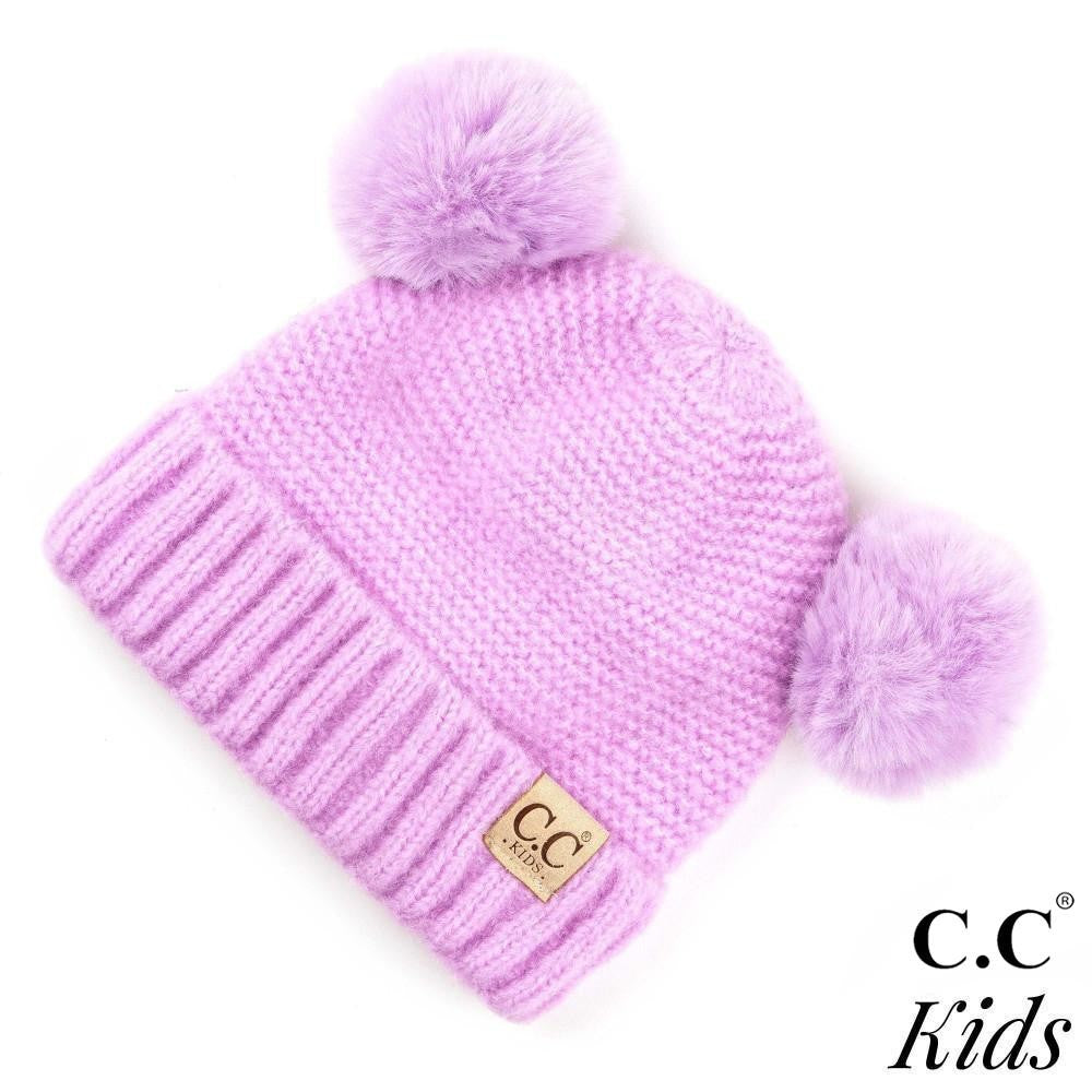 C.C. Kids Ribbed Knit Solid Double Pom Beanie