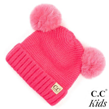 Load image into Gallery viewer, C.C. Kids Ribbed Knit Solid Double Pom Beanie
