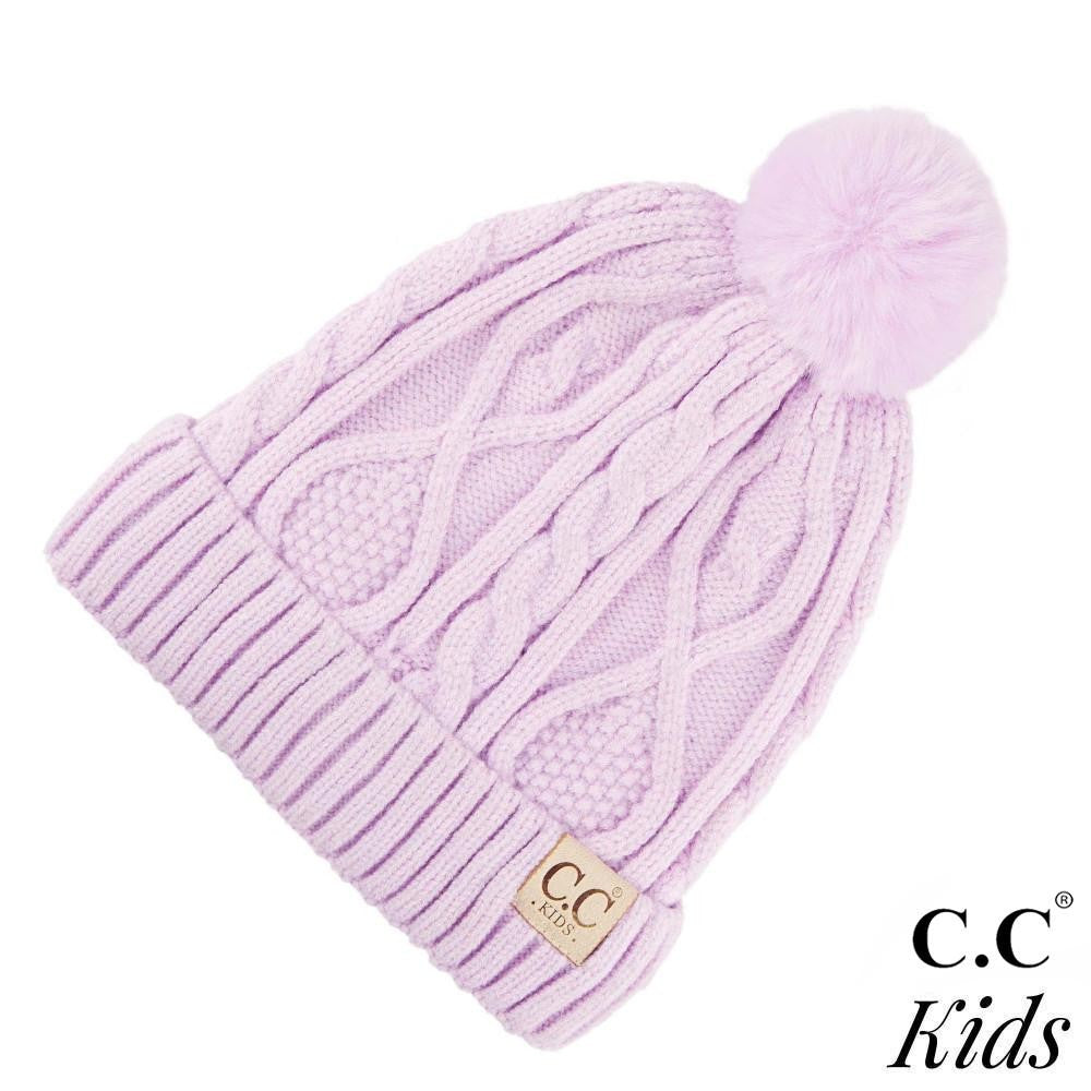 C.C. Kids Fur Lined Cable Knit Pom Beanie